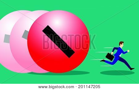 A Businessman Is Running Hurriedly From Rolling Big Red Negativity Steel Ball In Forward Motion. It Means Trying To Avoid Much Quantity Of Negative Attitude From The Others