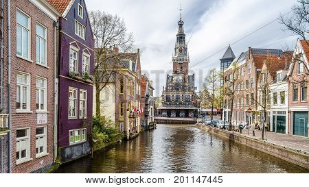 Alkmaar, The Netherlands - April 22, 2016: Urban Landscape In Alkmaar, The Netherlands, Canal View