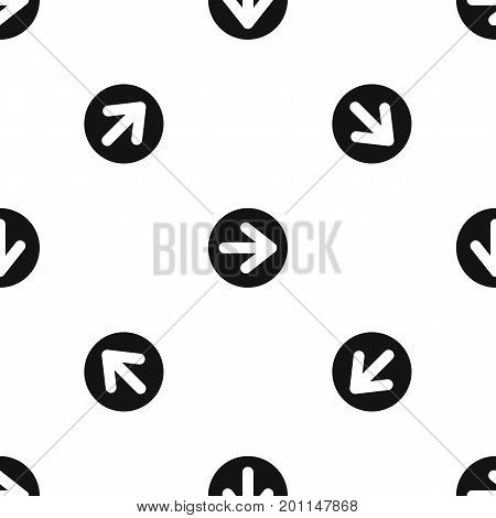 Arrow in circle pattern repeat seamless in black color for any design. Vector geometric illustration