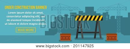 Under construction banner horizontal concept. Flat illustration of under construction banner horizontal vector concept for web