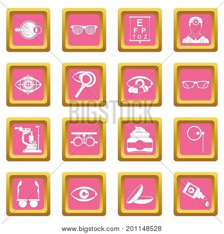 Ophthalmologist tools icons set in pink color isolated vector illustration for web and any design