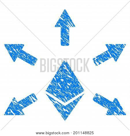 Grunge Ethereum Emission icon with grunge design and scratched texture. Unclean vector blue pictogram for rubber seal stamp imitations and watermarks. Draft sticker symbol.