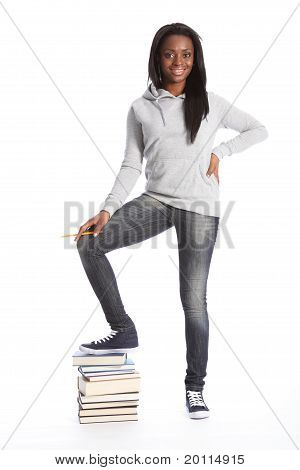 Happy Beautiful Black Student Girl With Books