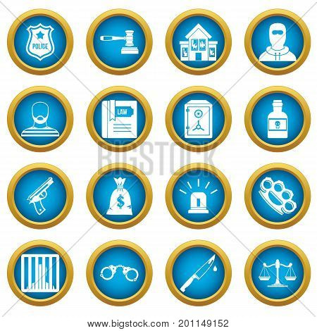 Crime and punishment icons blue circle set isolated on white for digital marketing