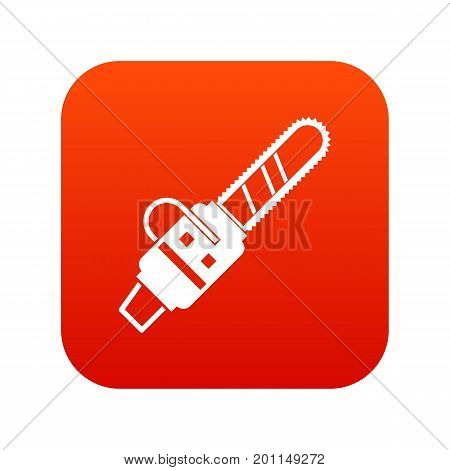 Gasoline powered chainsaw icon digital red for any design isolated on white vector illustration