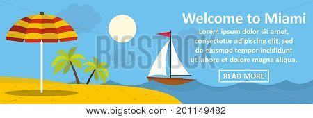 Welcome to miami banner horizontal concept. Flat illustration of welcome to miami banner horizontal vector concept for web