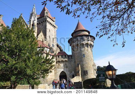 Leobendorf Austria - September 20 2016: Kreuzenstein castle - imitating medieval Gothic style burg in lower Austria