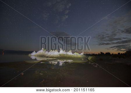 Reflecting Tufa Formations, Mono Lake At Night
