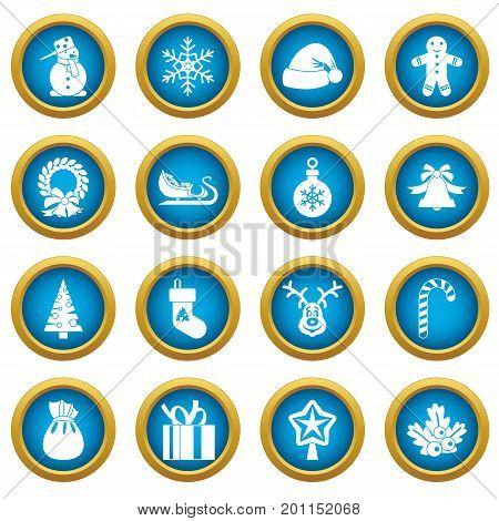 Christmas icons blue circle set isolated on white for digital marketing
