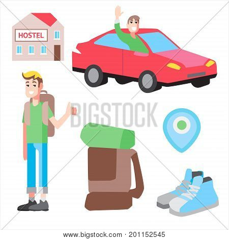 Vector set with illustrations cheap travel. Hostel, hitch-hiking and tourist stuff