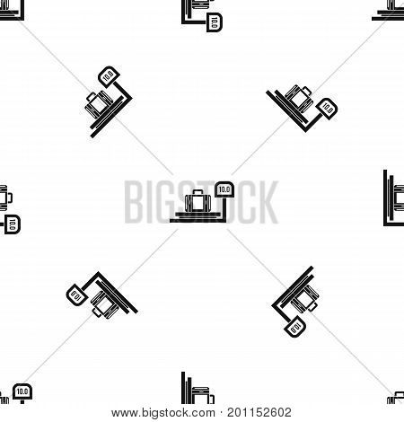 Luggage weighing pattern repeat seamless in black color for any design. Vector geometric illustration