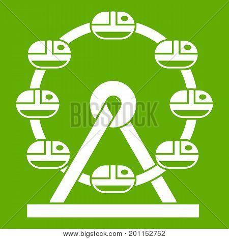 Giant ferris wheel icon white isolated on green background. Vector illustration