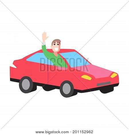 Vector flat illustration car with man rise hand hich-hiking on white isolated background