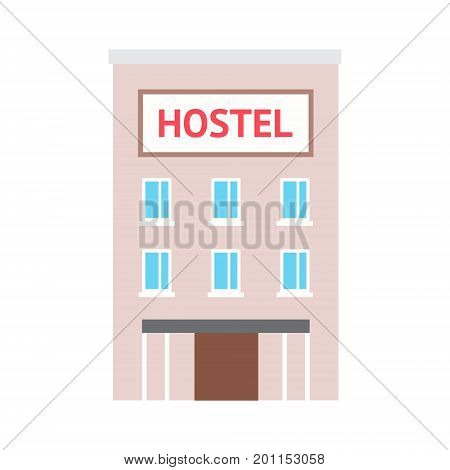 Vector flat illustration hostel with text signboard on white isolated background