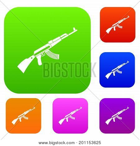 Kalashnikov machine set icon in different colors isolated vector illustration. Premium collection