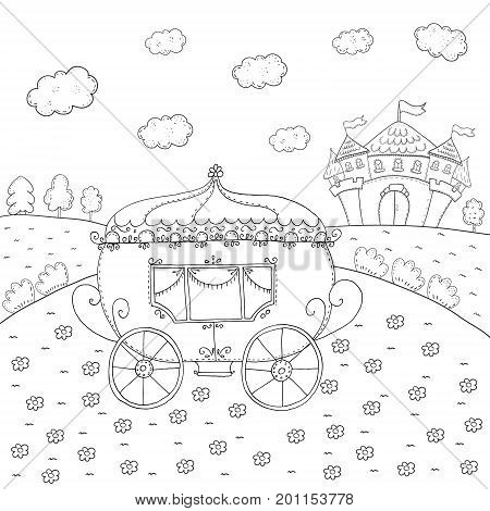 coloring book fairy tale carriage and magic castle design for kids
