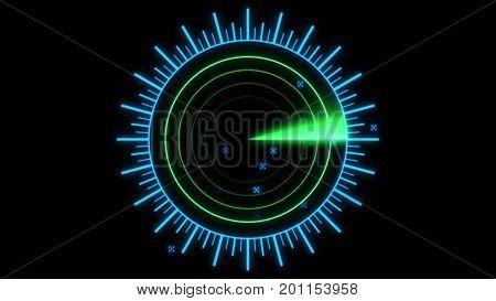 A Radar Screen Is Scanning For Signals 3D Illustration