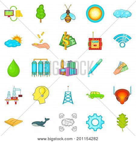 Global warming icons set. Cartoon set of 25 global warming vector icons for web isolated on white background