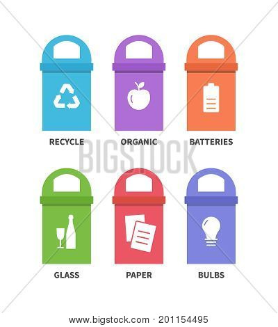 Separation garbage bins with organic, paper, glass, batteries, bulb. Different trash types flat icons
