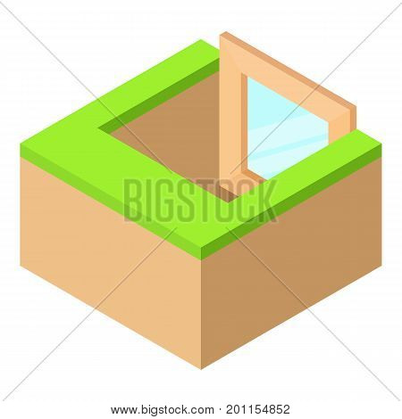 Basement window frame icon. Isometric illustration of basement window frame vector icon for web
