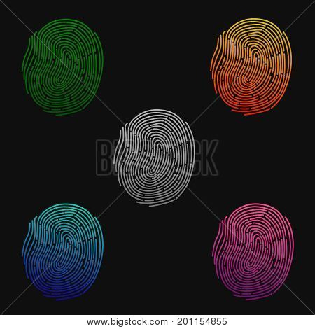 Fingerprints. Illustration of the fingerprint of different colors on a black background. Green, blue, orange and pink colors. Vector illustration
