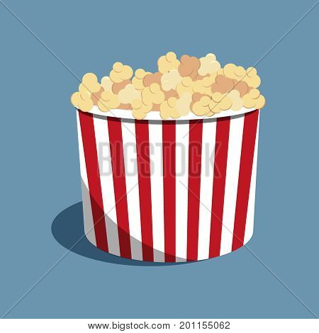 Popcorn striped bucket full of popcorn. Red and white stripes on bucket. Vector Illustration. Cinema food on the blue background