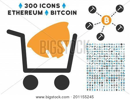 Helmet Shopping icon with 300 blockchain, cryptocurrency, ethereum, smart contract symbols. Vector icon set style is flat iconic symbols.