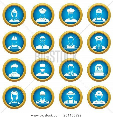 Professions icons blue circle set isolated on white for digital marketing