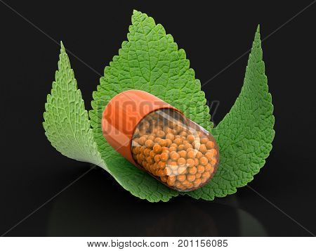 3d illustration. Capsule and leaves. Image with clipping path