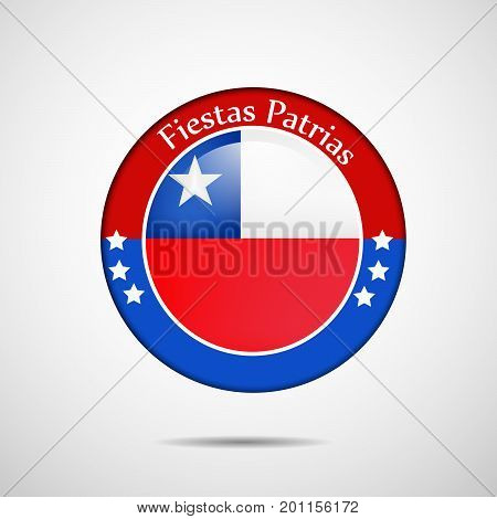 illustration of stamp in Chile flag background with Fiestas Patrias text on the occasion of Chile National Holidays. Fiestas Patrias is a Spanish phrase meaning