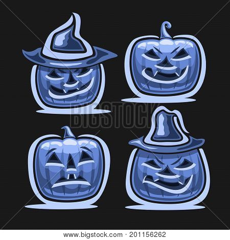 Vector set of Halloween Pumpkins: 4 blue Jack-o-Lantern with different characters in hats, icons of halloween symbol with evil smile and fright emotion, halloween pumpkin lantern jack moonlit on black