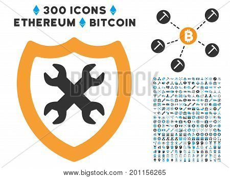 Security Configuration pictograph with 300 blockchain, bitcoin, ethereum, smart contract images. Vector pictograph collection style is flat iconic symbols.