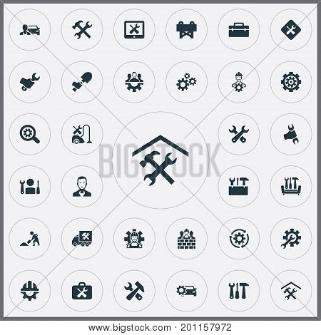 Elements Option, Magnifier, Tools And Other Synonyms Mending, Rotate And Van.  Vector Illustration Set Of Simple  Icons.