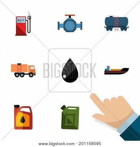 Flat Icon Fuel Set Of Boat, Fuel Canister, Droplet And Other Vector Objects
