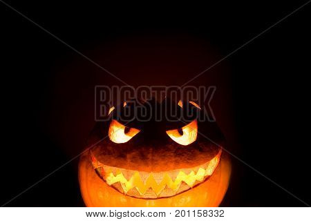 Bottom halloween pumpkin smile with hot burning fire eyes mouth. Big spooky helloween symbol has a glowing mad face and smiling with sharp teeth and bad look. Black orange nightmare of October 31st.
