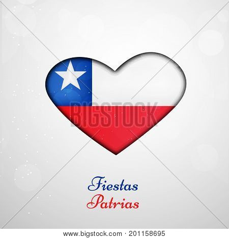 illustration of heart in Chile flag background with Fiestas Patrias text on the occasion of Chile National Holidays. Fiestas Patrias is a Spanish phrase meaning