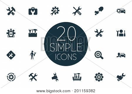 Elements Magnifier, Mechanic, Fix And Other Synonyms Car, Digger And Worker.  Vector Illustration Set Of Simple Repairing Icons.