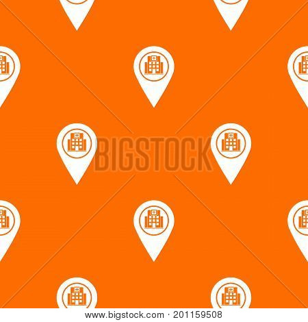 Geo tag with hospital building sign pattern repeat seamless in orange color for any design. Vector geometric illustration