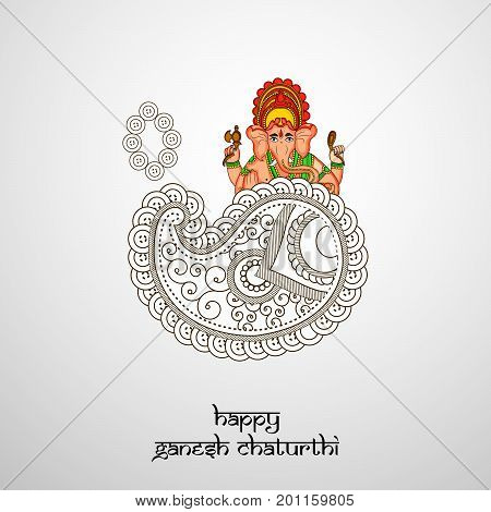 illustration of floral design and hindu lord Ganesh with happy Ganesh Chaturthi text on the occasion of hindu festival Ganesh Chaturthi