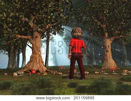 3d illustration of a child in an enchanted forest