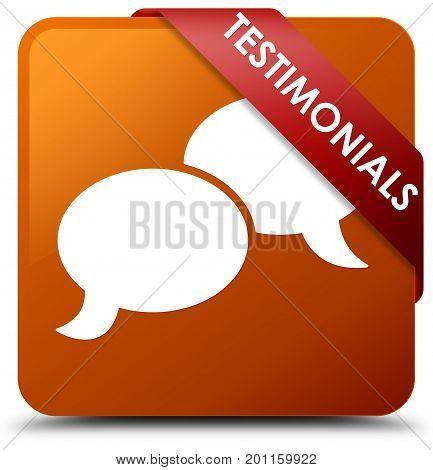 Testimonials (chat Icon) Brown Square Button Red Ribbon In Corner