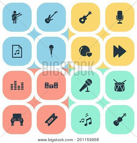 Elements Fiddle, File, Shellac And Other Synonyms Megaphone, Note And Orchestra.  Vector Illustration Set Of Simple Music Icons.