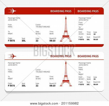 Red boarding pass with Eiffel tower. Vector illustration.