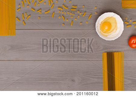 Background to the buff spaghetti and place for your text. photos of food for the posts. background for the menu of Italian retorana. Above view on table