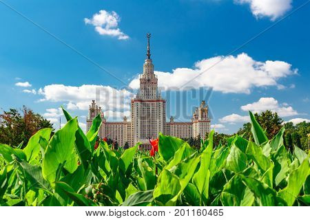 Lomonosov Moscow State University (msu). View Of The Main Building On Sparrow Hills
