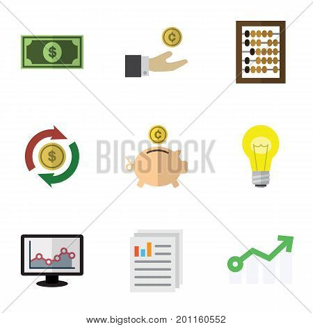 Flat Icon Gain Set Of Hand With Coin, Document, Bubl Vector Objects