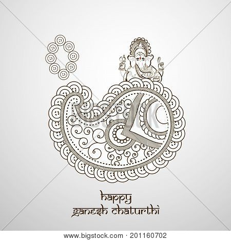 illustration of floral design and lord Ganesh with happy Ganesh Chaturthi text on the occasion of hindu festival Ganesh Chaturthi