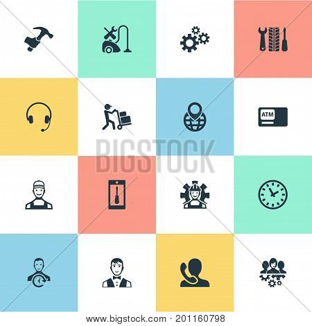 Elements Time, On Duty, Automatic Teller Machine And Other Synonyms Pin, Staff And Operator.  Vector Illustration Set Of Simple Service Icons.