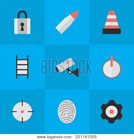 Elements Target, Isolated, Closed And Other Synonyms Safe, Isolated And Lock.  Vector Illustration Set Of Simple Offense Icons.