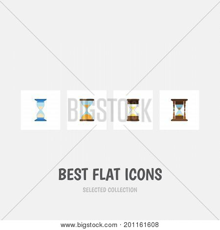 Flat Icon Timer Set Of Clock, Sand Timer, Minute Measuring Vector Objects
